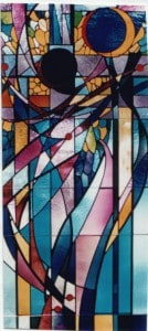 stained glass window of the Crucifixion